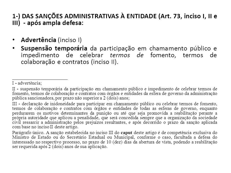 1-) DAS SANÇÕES ADMINISTRATIVAS À ENTIDADE (Art. 73, inciso I, II e III) - após ampla defesa: Advertência (inciso I) Suspensão temporária da participa