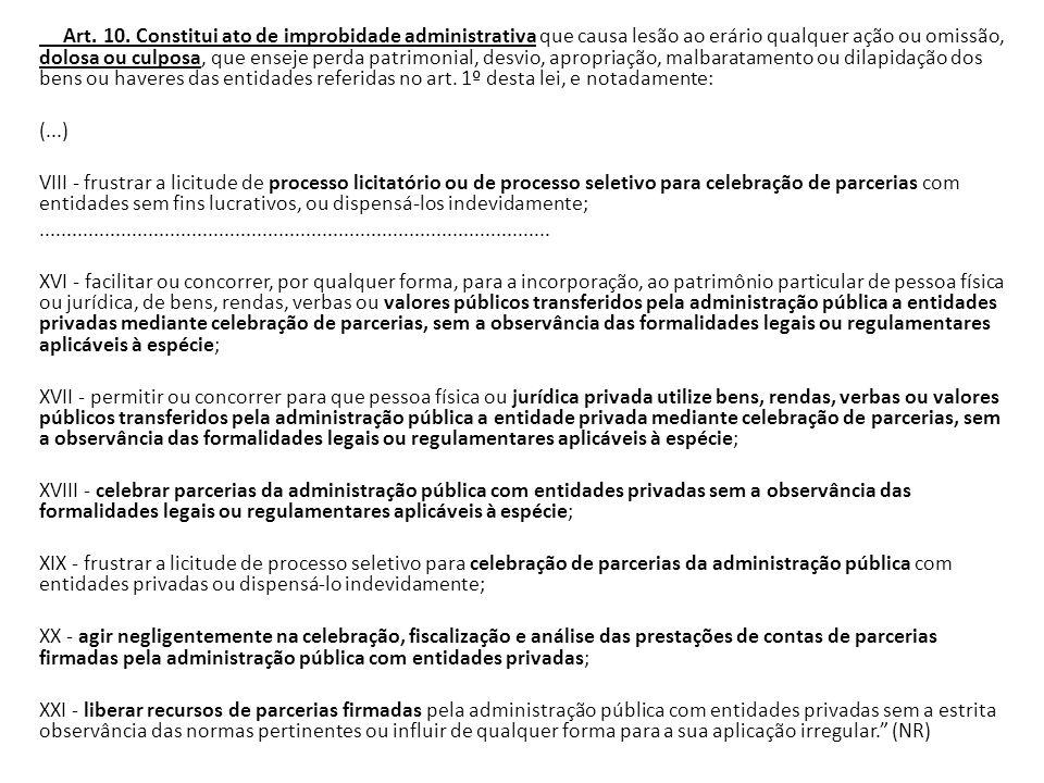 Art. 10. Constitui ato de improbidade administrativa que causa lesão ao erário qualquer ação ou omissão, dolosa ou culposa, que enseje perda patrimoni