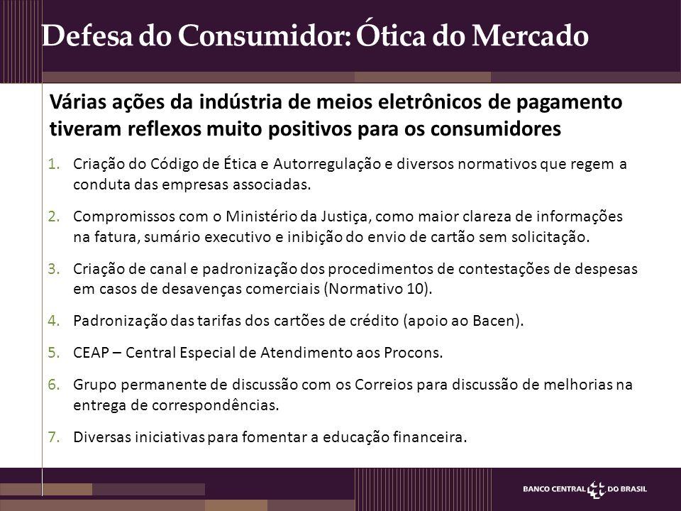 Defesa do Consumidor: Ótica do Mercado Várias ações da indústria de meios eletrônicos de pagamento tiveram reflexos muito positivos para os consumidor