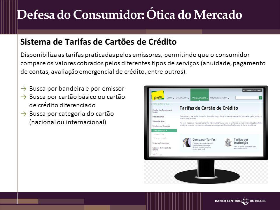 Defesa do Consumidor: Ótica do Mercado Disponibiliza as tarifas praticadas pelos emissores, permitindo que o consumidor compare os valores cobrados pe