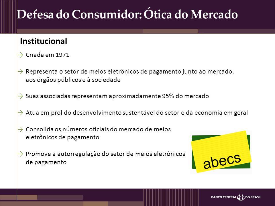 Defesa do Consumidor: Ótica do Mercado →Criada em 1971 →Representa o setor de meios eletrônicos de pagamento junto ao mercado, aos órgãos públicos e à