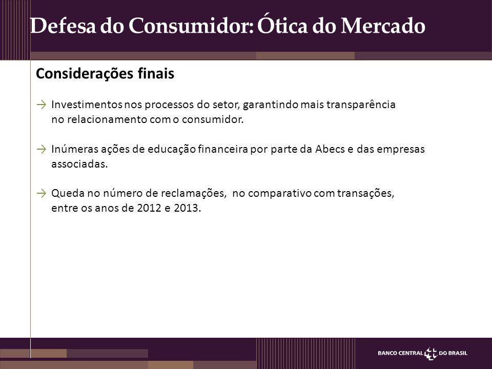 Defesa do Consumidor: Ótica do Mercado →Investimentos nos processos do setor, garantindo mais transparência no relacionamento com o consumidor. →Inúme