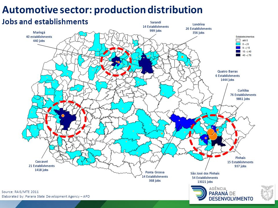 Automotive sector: production distribution Jobs and establishments Source: RAIS/MTE 2011 Elaborated by: Parana State Development Agency – APD São José dos Pinhais 54 Establishments 13021 jobs Curitiba 76 Establishments 9861 jobs Quatro Barras 6 Establishments 1444 jobs Cascavel 21 Establishments 1418 jobs Londrina 26 Establishments 356 jobs Maringá 40 establishments 440 jobs Ponta Grossa 14 Establishments 368 jobs Pinhais 15 Establishments 937 jobs Sarandí 14 Establishments 999 jobs