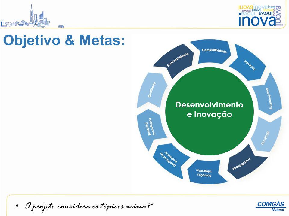 O projeto considera os tópicos acima? Desenvolvimento e Inovação Objetivo & Metas: