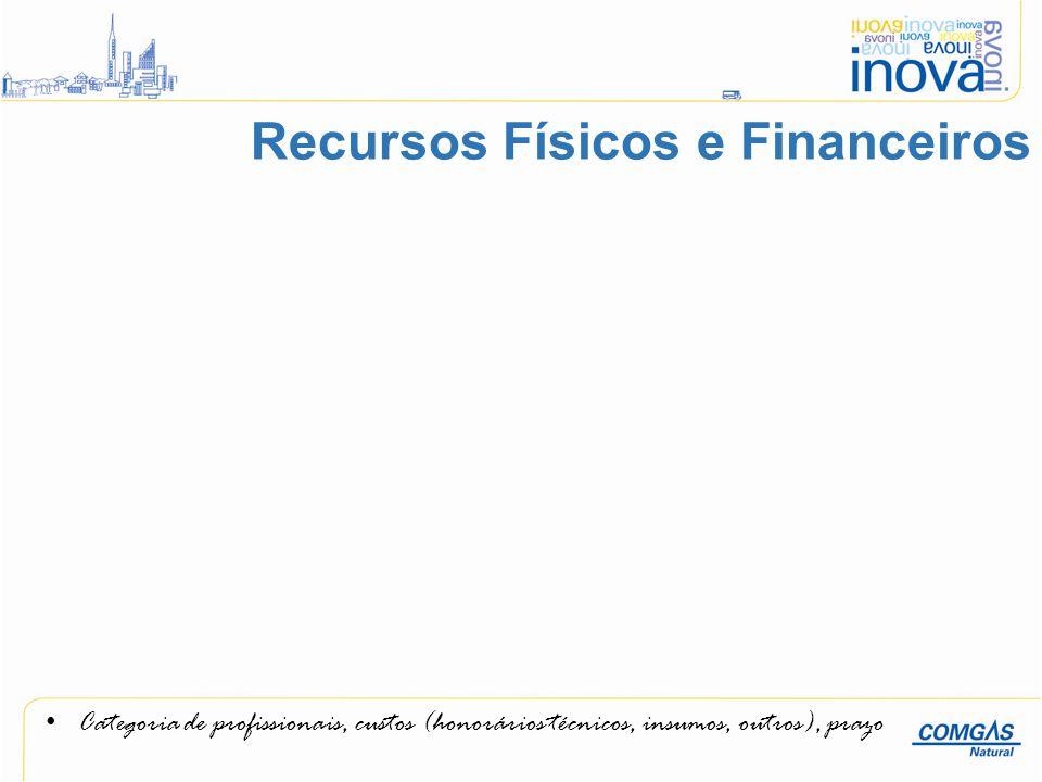 Categoria de profissionais, custos (honorários técnicos, insumos, outros), prazo Recursos Físicos e Financeiros