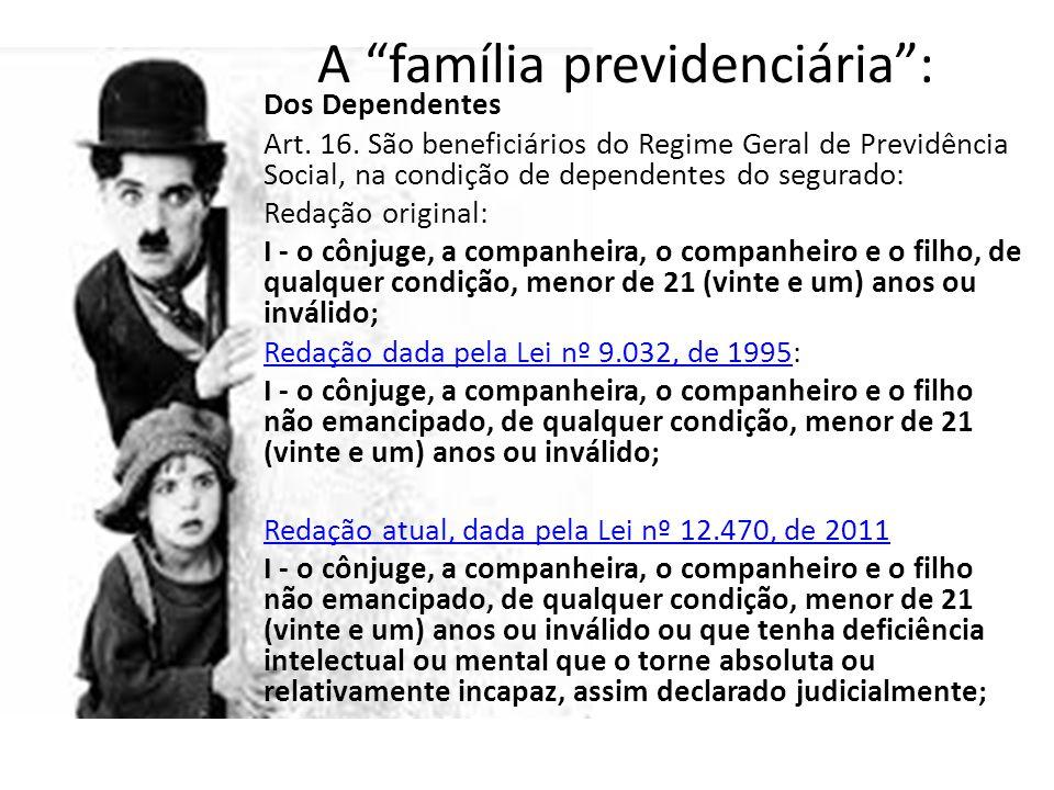 """A """"família previdenciária"""": Dos Dependentes Art. 16. São beneficiários do Regime Geral de Previdência Social, na condição de dependentes do segurado:"""
