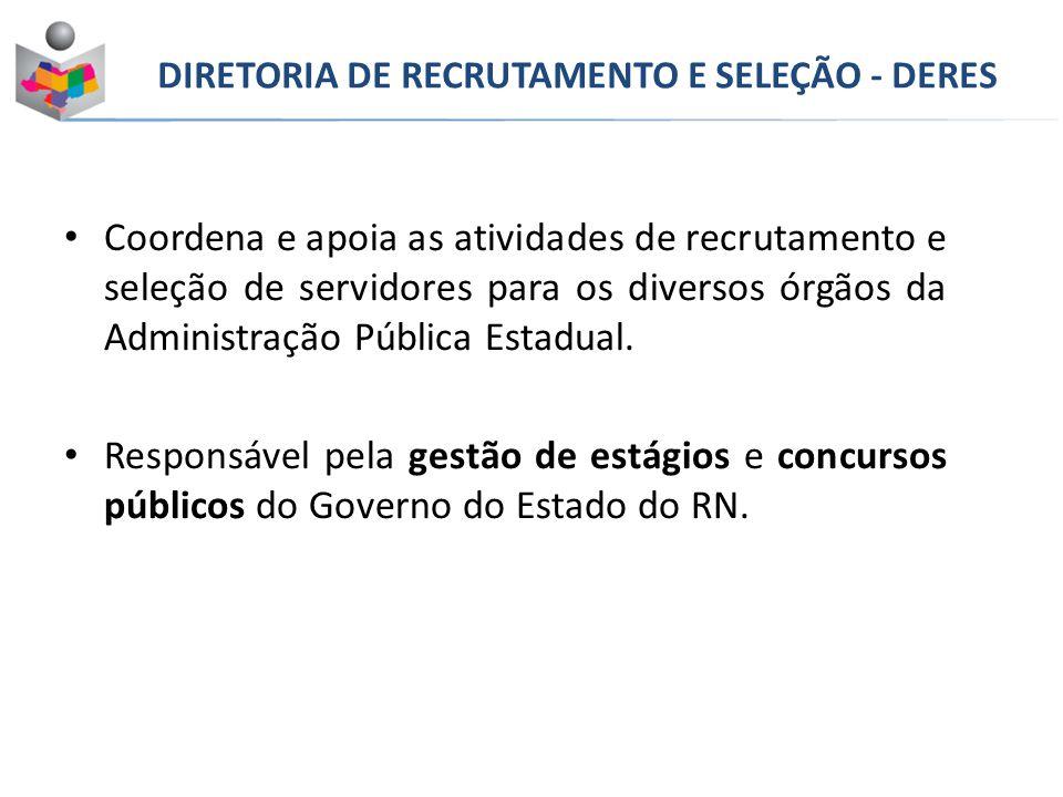 Coordena e apoia as atividades de recrutamento e seleção de servidores para os diversos órgãos da Administração Pública Estadual.