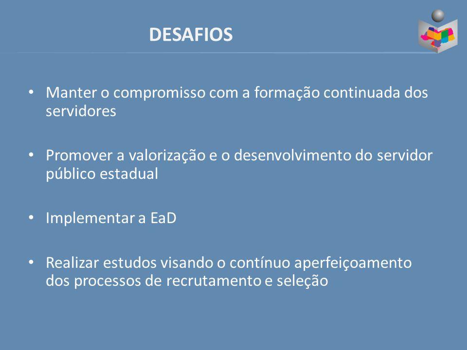 DESAFIOS Manter o compromisso com a formação continuada dos servidores Promover a valorização e o desenvolvimento do servidor público estadual Implementar a EaD Realizar estudos visando o contínuo aperfeiçoamento dos processos de recrutamento e seleção