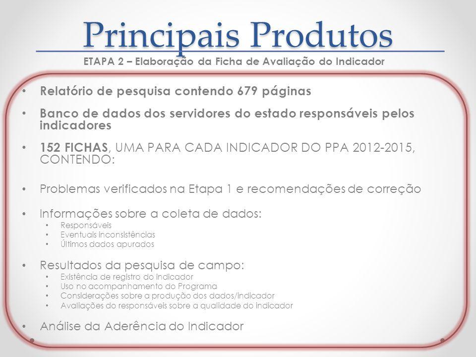Relatório de pesquisa contendo 679 páginas Banco de dados dos servidores do estado responsáveis pelos indicadores 152 FICHAS, UMA PARA CADA INDICADOR