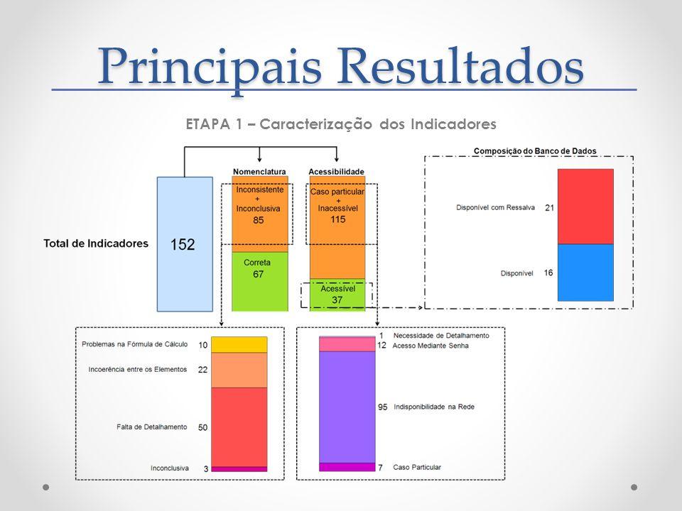 Principais Resultados ETAPA 1 – Caracterização dos Indicadores