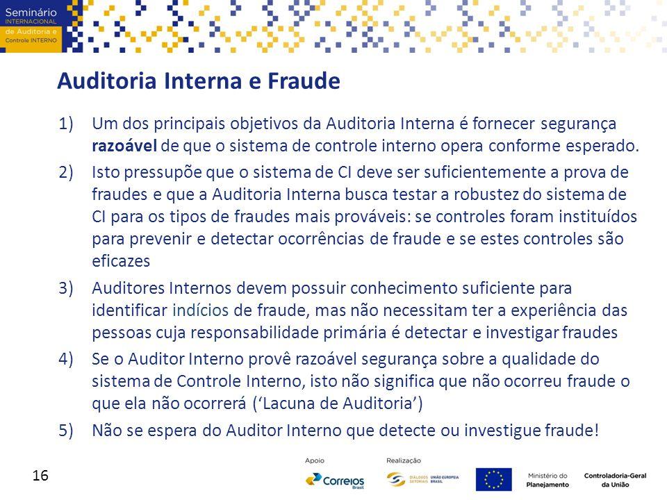 Auditoria Interna e Fraude 1)Um dos principais objetivos da Auditoria Interna é fornecer segurança razoável de que o sistema de controle interno opera