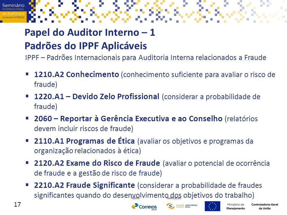 Papel do Auditor Interno – 1 Padrões do IPPF Aplicáveis IPPF – Padrões Internacionais para Auditoria Interna relacionados a Fraude  1210.A2 Conhecime