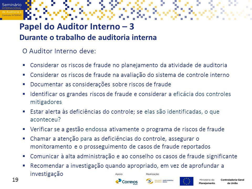 Papel do Auditor Interno – 3 Durante o trabalho de auditoria interna O Auditor Interno deve:  Considerar os riscos de fraude no planejamento da ativi