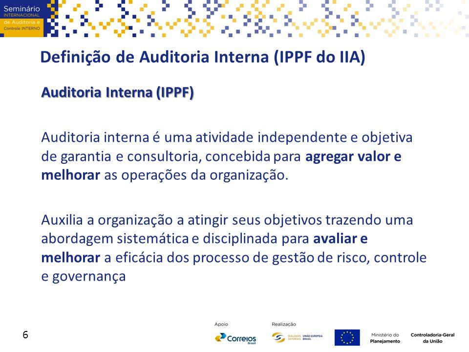 Definição de Auditoria Interna (IPPF do IIA) Auditoria Interna (IPPF) Auditoria interna é uma atividade independente e objetiva de garantia e consulto