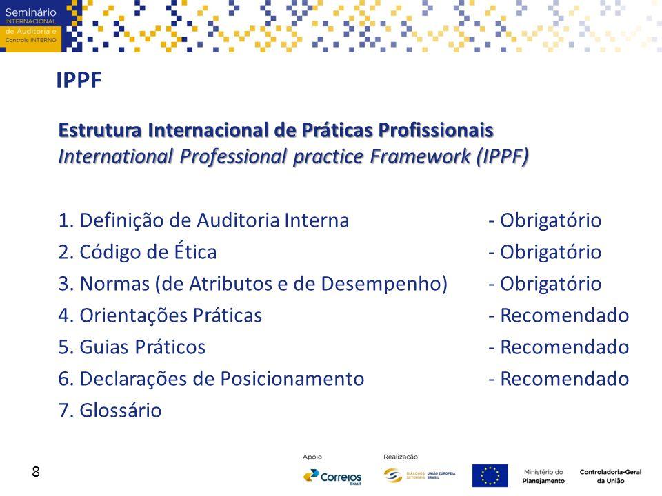 IPPF Estrutura Internacional de Práticas Profissionais International Professional practice Framework (IPPF) 1. Definição de Auditoria Interna - Obriga