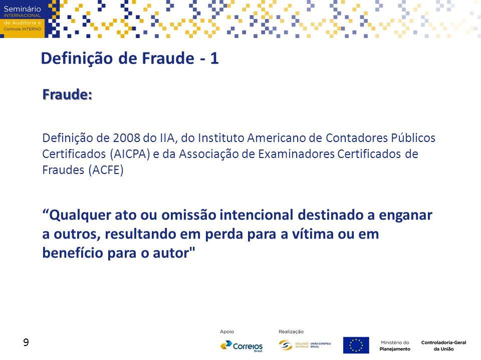 Definição de Fraude - 1 Fraude: Definição de 2008 do IIA, do Instituto Americano de Contadores Públicos Certificados (AICPA) e da Associação de Examin