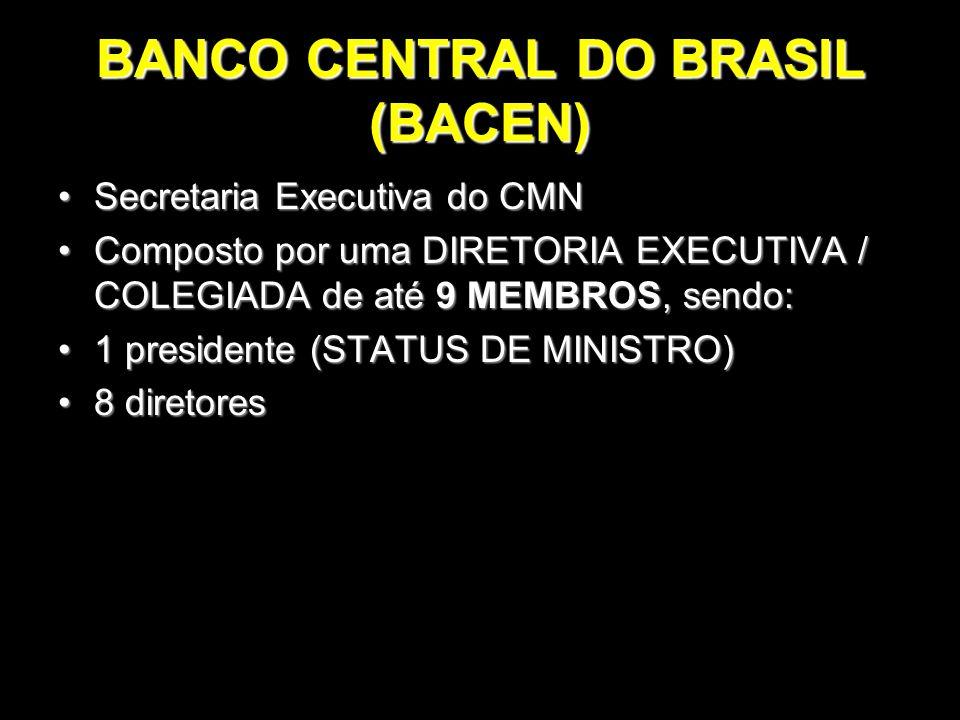 BANCO CENTRAL DO BRASIL (BACEN) Secretaria Executiva do CMNSecretaria Executiva do CMN Composto por uma DIRETORIA EXECUTIVA / COLEGIADA de até 9 MEMBR