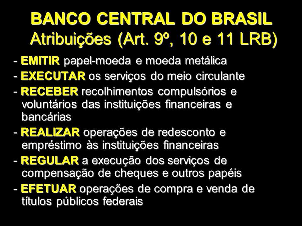 BANCO CENTRAL DO BRASIL Atribuições (Art. 9º, 10 e 11 LRB) - EMITIR papel-moeda e moeda metálica - EMITIR papel-moeda e moeda metálica - EXECUTAR os s