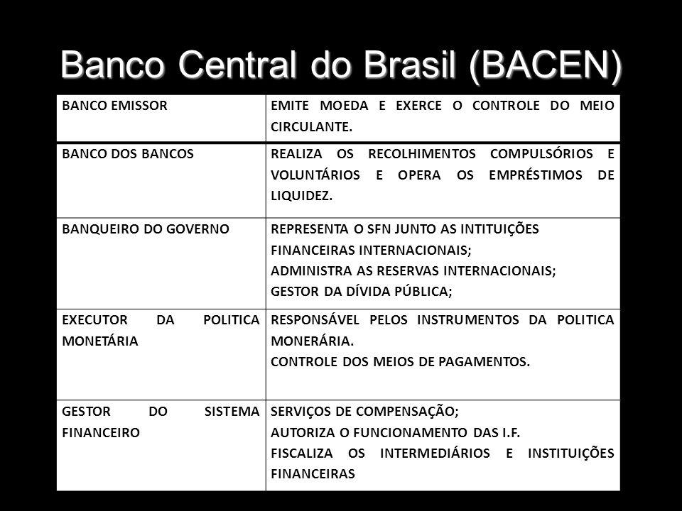 Banco Central do Brasil (BACEN) BANCO EMISSOR EMITE MOEDA E EXERCE O CONTROLE DO MEIO CIRCULANTE. BANCO DOS BANCOS REALIZA OS RECOLHIMENTOS COMPULSÓRI