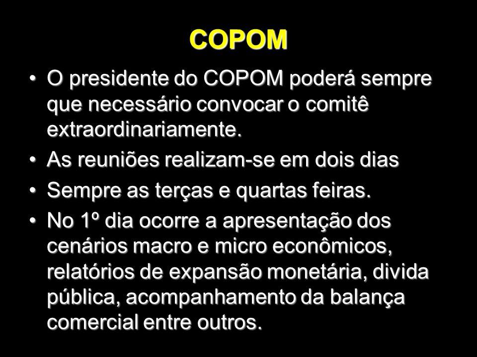 COPOM O presidente do COPOM poderá sempre que necessário convocar o comitê extraordinariamente.O presidente do COPOM poderá sempre que necessário conv