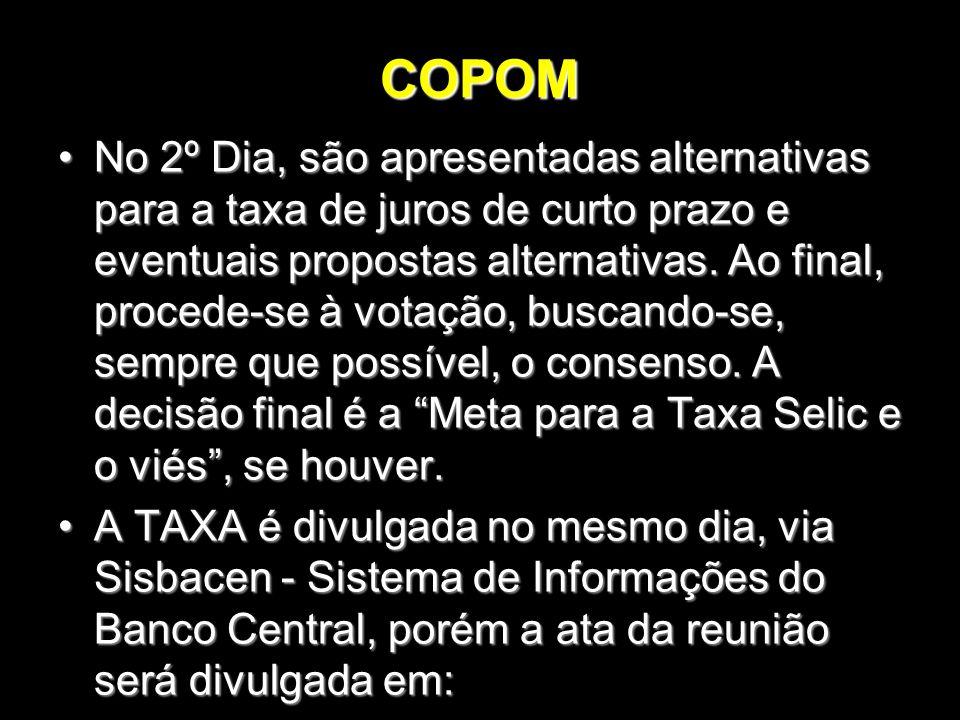 COPOM No 2º Dia, são apresentadas alternativas para a taxa de juros de curto prazo e eventuais propostas alternativas. Ao final, procede-se à votação,