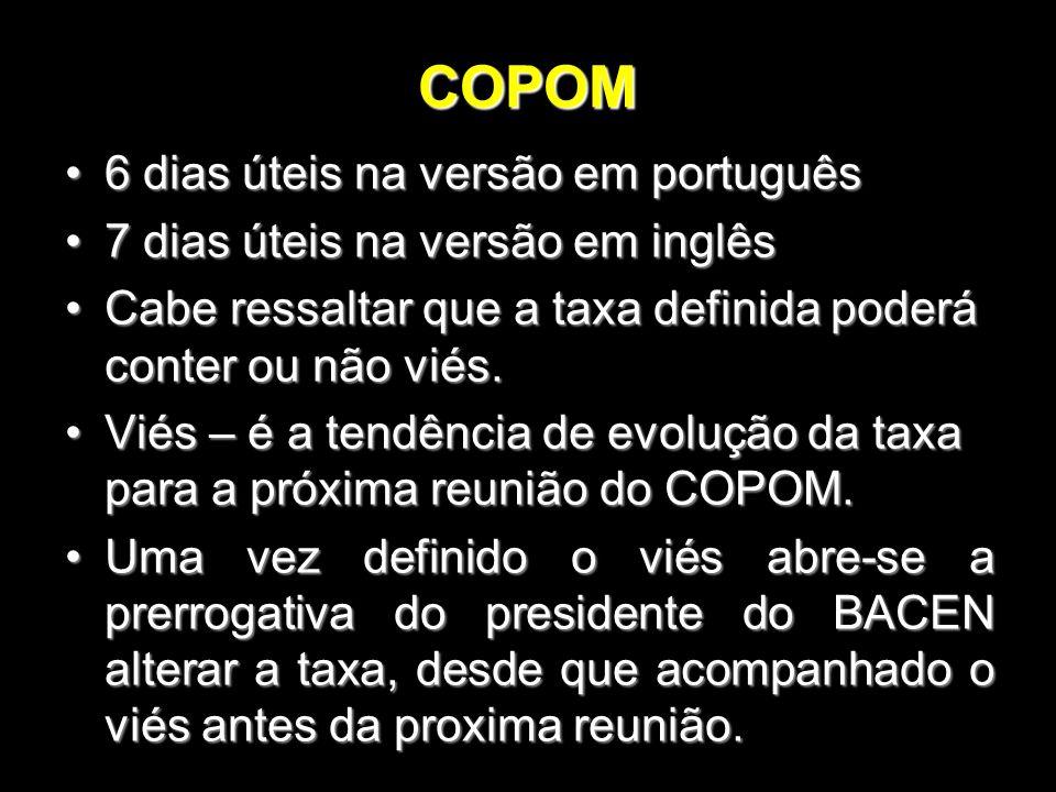 COPOM 6 dias úteis na versão em português6 dias úteis na versão em português 7 dias úteis na versão em inglês7 dias úteis na versão em inglês Cabe res