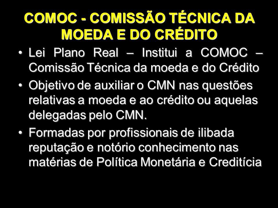 COMOC - COMISSÃO TÉCNICA DA MOEDA E DO CRÉDITO Lei Plano Real – Institui a COMOC – Comissão Técnica da moeda e do CréditoLei Plano Real – Institui a C