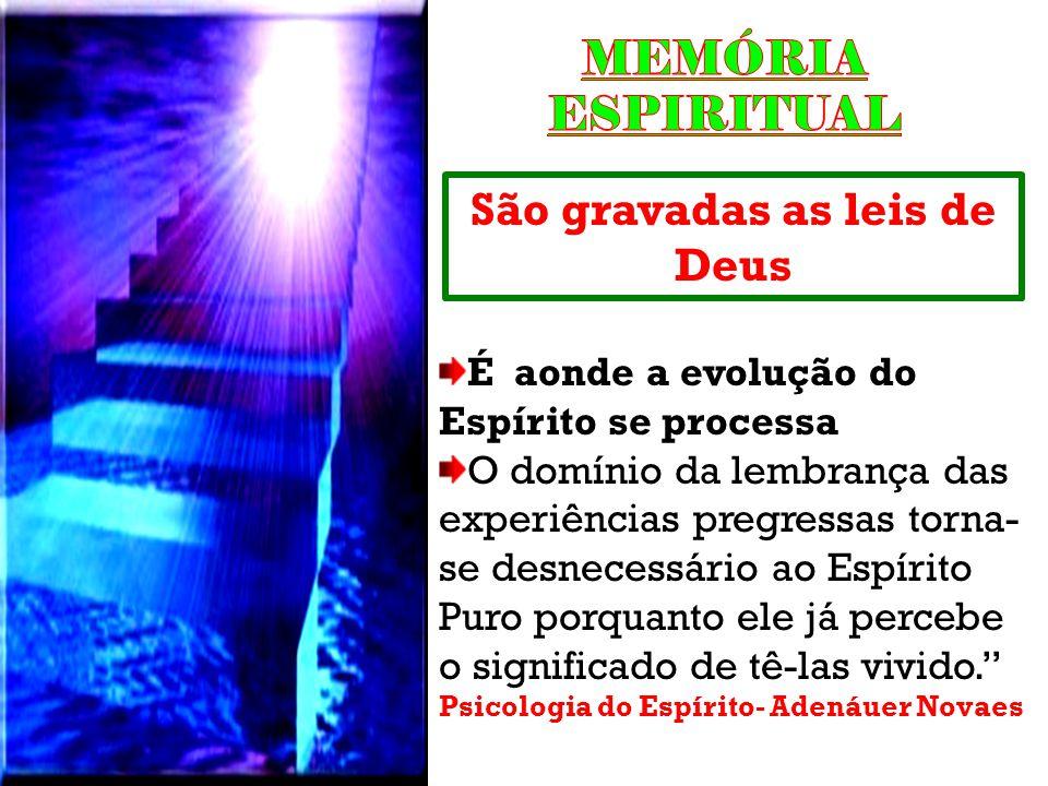 São gravadas as leis de Deus É aonde a evolução do Espírito se processa O domínio da lembrança das experiências pregressas torna- se desnecessário ao