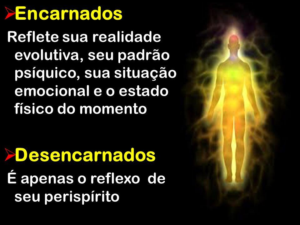  Encarnados Reflete sua realidade evolutiva, seu padrão psíquico, sua situação emocional e o estado físico do momento Reflete sua realidade evolutiva