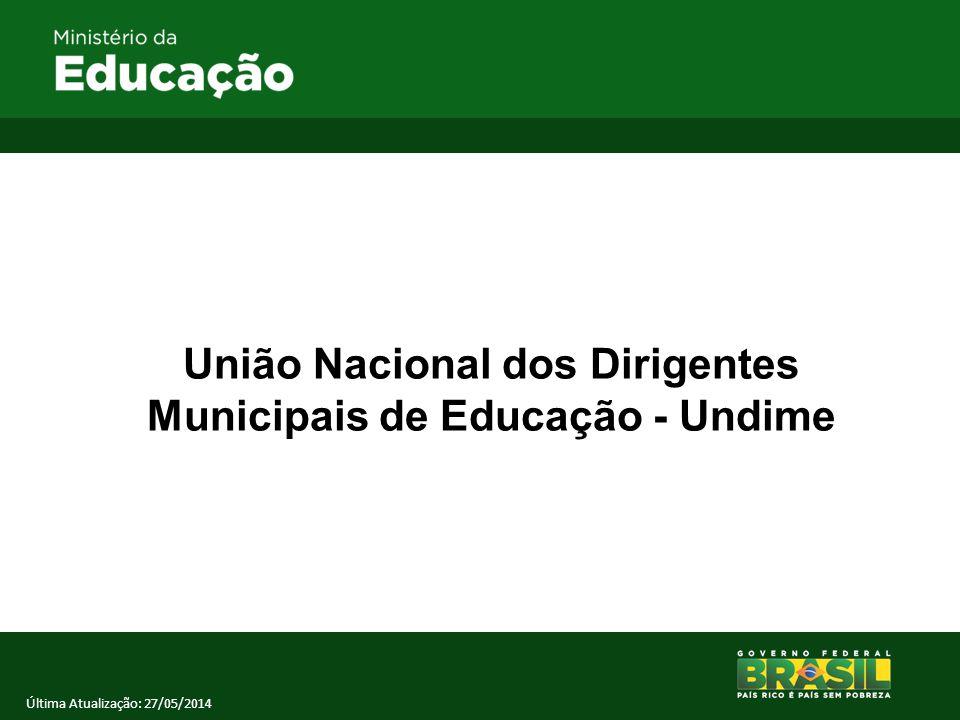 União Nacional dos Dirigentes Municipais de Educação - Undime Última Atualização: 27/05/2014