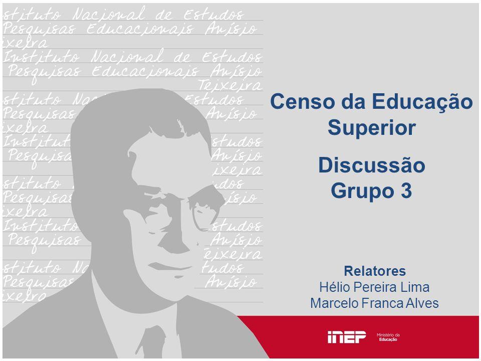 Censo da Educação Superior Discussão Grupo 3 Relatores Hélio Pereira Lima Marcelo Franca Alves