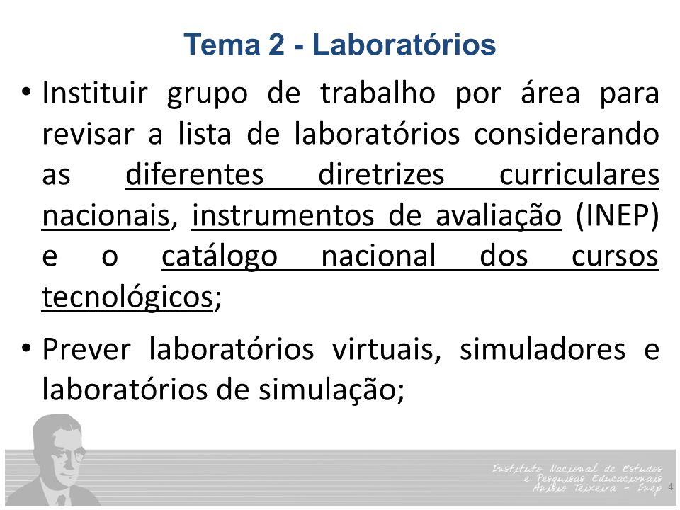 4 Tema 2 - Laboratórios Instituir grupo de trabalho por área para revisar a lista de laboratórios considerando as diferentes diretrizes curriculares nacionais, instrumentos de avaliação (INEP) e o catálogo nacional dos cursos tecnológicos; Prever laboratórios virtuais, simuladores e laboratórios de simulação;