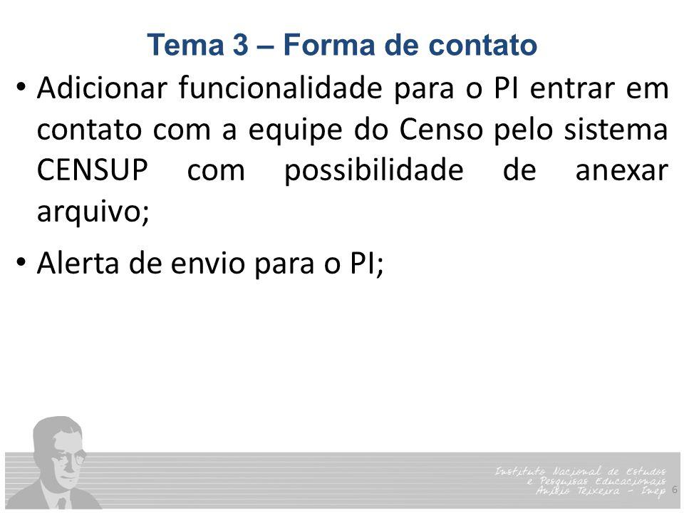 6 Tema 3 – Forma de contato Adicionar funcionalidade para o PI entrar em contato com a equipe do Censo pelo sistema CENSUP com possibilidade de anexar arquivo; Alerta de envio para o PI;