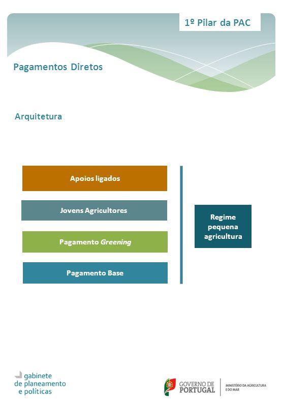 1º Pilar da PAC Pagamentos Diretos Apoios ligados Jovens Agricultores Pagamento Greening Pagamento Base Regime pequena agricultura Arquitetura