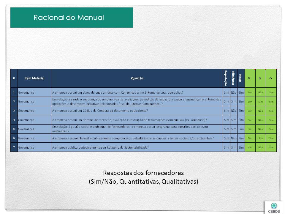 Racional do Manual Respostas dos fornecedores (Sim/Não, Quantitativas, Qualitativas)