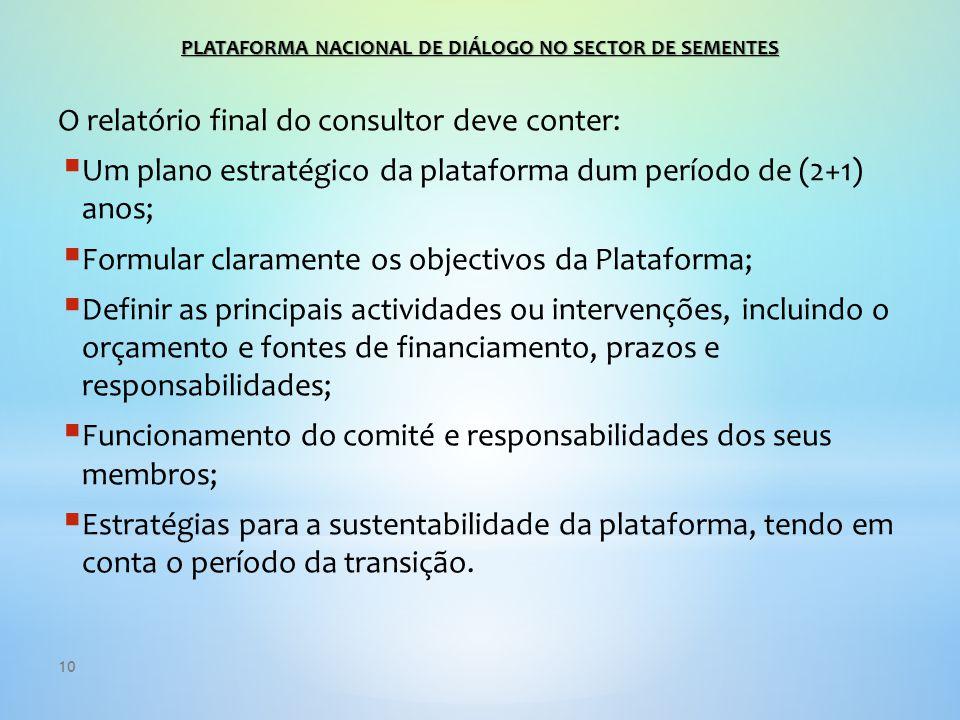 10 O relatório final do consultor deve conter:  Um plano estratégico da plataforma dum período de (2+1) anos;  Formular claramente os objectivos da Plataforma;  Definir as principais actividades ou intervenções, incluindo o orçamento e fontes de financiamento, prazos e responsabilidades;  Funcionamento do comité e responsabilidades dos seus membros;  Estratégias para a sustentabilidade da plataforma, tendo em conta o período da transição.
