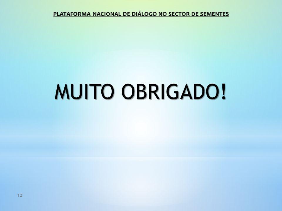 12 MUITO OBRIGADO! PLATAFORMA NACIONAL DE DIÁLOGO NO SECTOR DE SEMENTES