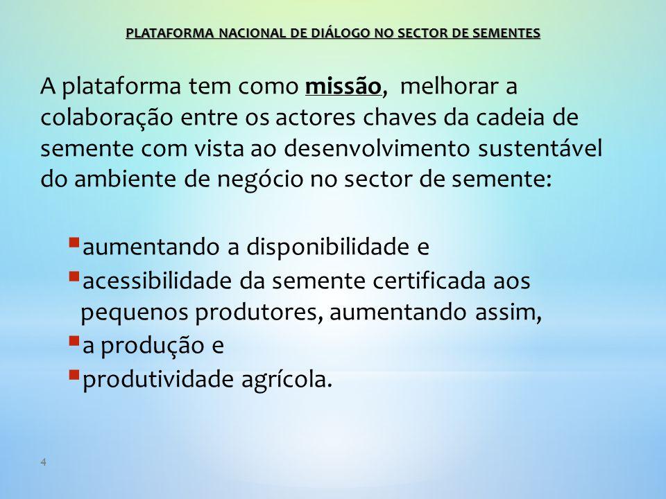 4 A plataforma tem como missão, melhorar a colaboração entre os actores chaves da cadeia de semente com vista ao desenvolvimento sustentável do ambiente de negócio no sector de semente:  aumentando a disponibilidade e  acessibilidade da semente certificada aos pequenos produtores, aumentando assim,  a produção e  produtividade agrícola.