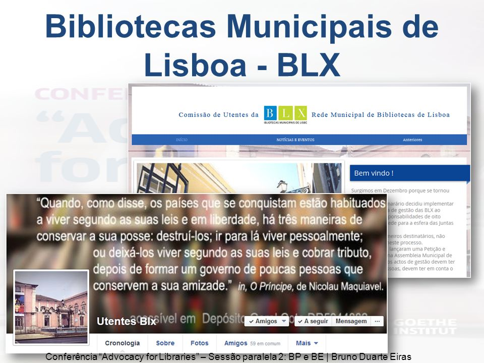 Bibliotecas Municipais de Lisboa - BLX Conferência Advocacy for Libraries – Sessão paralela 2: BP e BE | Bruno Duarte Eiras