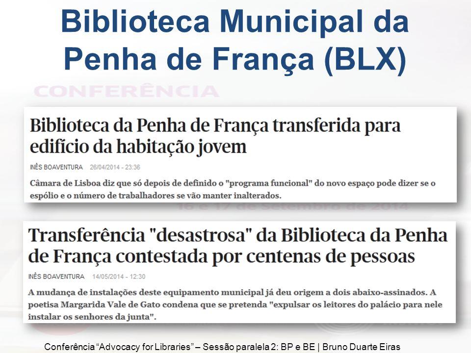 Biblioteca Municipal da Penha de França (BLX) Conferência Advocacy for Libraries – Sessão paralela 2: BP e BE | Bruno Duarte Eiras