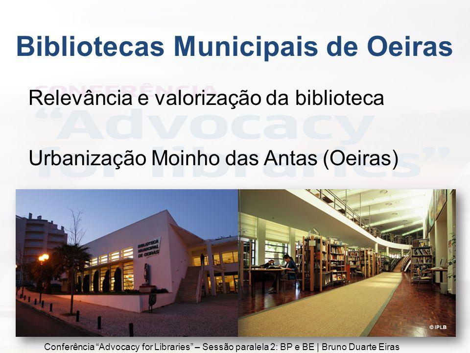 Relevância e valorização da biblioteca Urbanização Moinho das Antas (Oeiras) Bibliotecas Municipais de Oeiras Conferência Advocacy for Libraries – Sessão paralela 2: BP e BE | Bruno Duarte Eiras