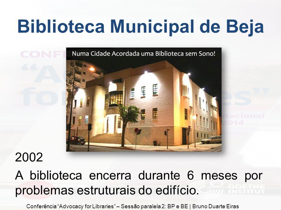 """2002 A biblioteca encerra durante 6 meses por problemas estruturais do edifício. Biblioteca Municipal de Beja Conferência """"Advocacy for Libraries"""" – S"""