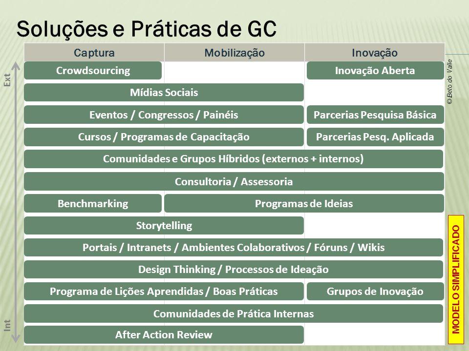 Soluções e Práticas de GC CapturaMobilizaçãoInovação Ext Int Consultoria / Assessoria Eventos / Congressos / PainéisParcerias Pesquisa Básica © Beto d