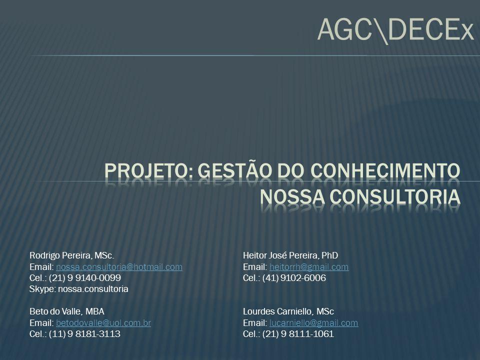 AGC\DECEx Rodrigo Pereira, MSc. Email: nossa.consultoria@hotmail.comnossa.consultoria@hotmail.com Cel.: (21) 9 9140-0099 Skype: nossa.consultoria Beto