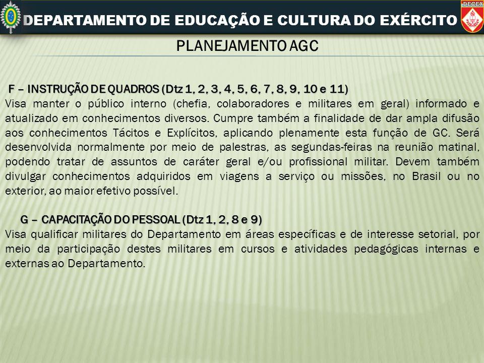 DEPARTAMENTO DE EDUCAÇÃO E CULTURA DO EXÉRCITO PLANEJAMENTO AGC F – INSTRUÇÃO DE QUADROS (Dtz 1, 2, 3, 4, 5, 6, 7, 8, 9, 10 e 11) F – INSTRUÇÃO DE QUA