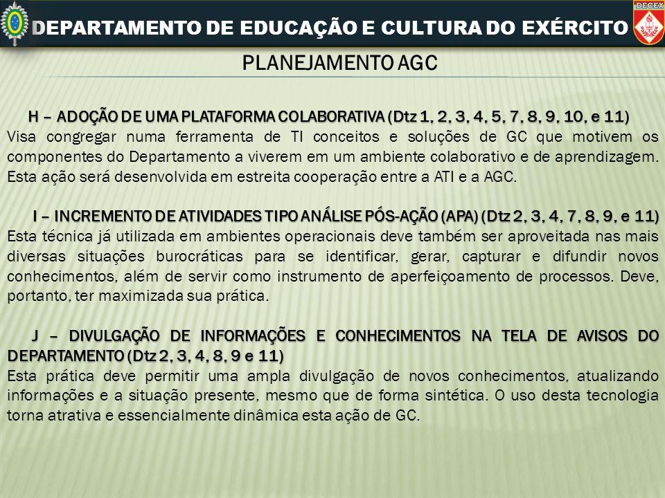 DEPARTAMENTO DE EDUCAÇÃO E CULTURA DO EXÉRCITO PLANEJAMENTO AGC H – ADOÇÃO DE UMA PLATAFORMA COLABORATIVA (Dtz 1, 2, 3, 4, 5, 7, 8, 9, 10, e 11) H – A