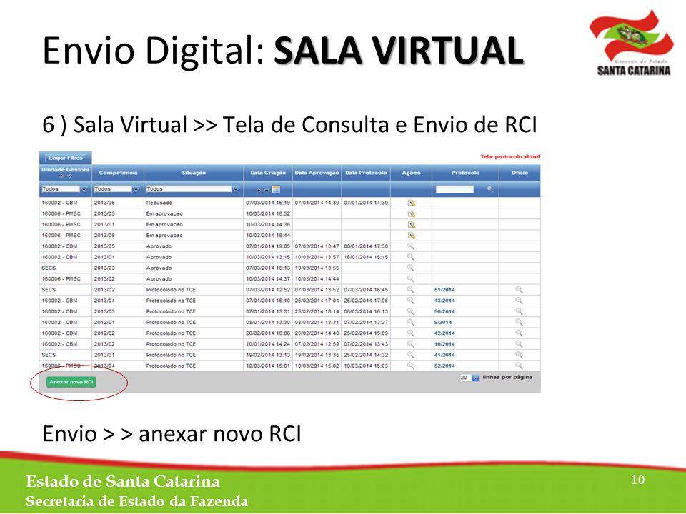 SALA VIRTUAL Envio Digital: SALA VIRTUAL 6 ) Sala Virtual >> Tela de Consulta e Envio de RCI Envio > > anexar novo RCI Estado de Santa Catarina Secretaria de Estado da Fazenda 10