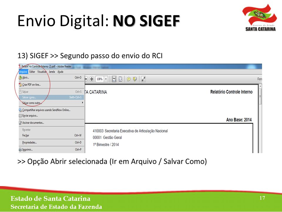 Estado de Santa Catarina Secretaria de Estado da Fazenda 17 NO SIGEF Envio Digital: NO SIGEF