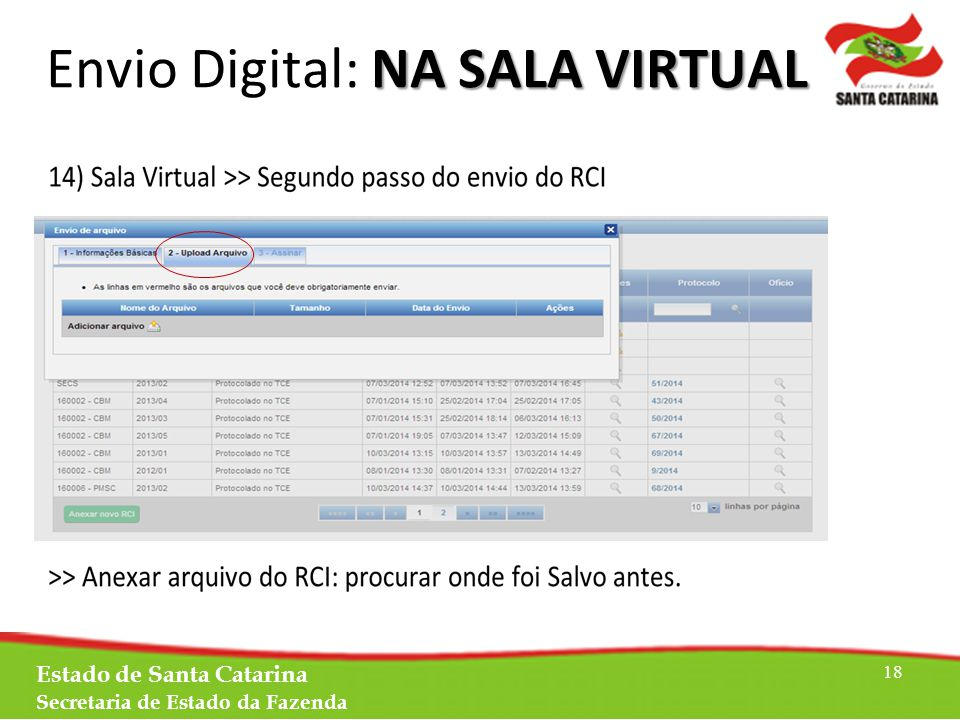 Estado de Santa Catarina Secretaria de Estado da Fazenda 18 NA SALA VIRTUAL Envio Digital: NA SALA VIRTUAL