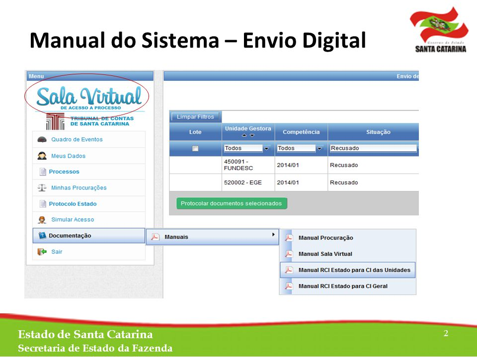 Estado de Santa Catarina Secretaria de Estado da Fazenda 2 Manual do Sistema – Envio Digital